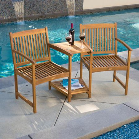 Mcallen Deluxe Acacia Wood Adjoining Chairs