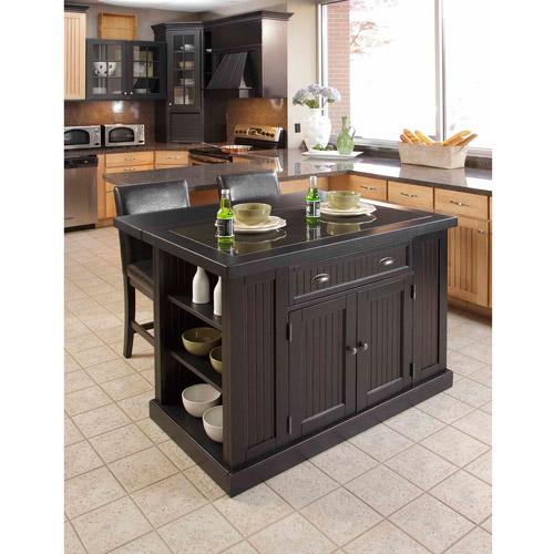 home styles nantucket kitchen island, distressed black - walmart