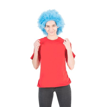 Cheap Blue Wigs (Fluffy Blue Adult Costume Wig)