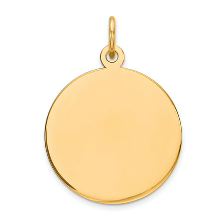 14k Yellow Gold Plain 0.027 Gauge Circular Engravable Disc Charm (0.9in long x 0.7in wide)