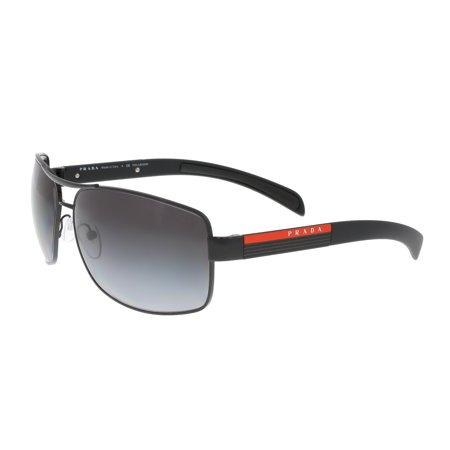 Prada Women's Polarized PS54IS-DG05W1-65 Black Rectangle Sunglasses