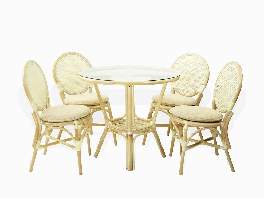Denver Dining Set Of 4 Natural Rattan Wicker Side Chairs W/Cream Cushion  And Dining