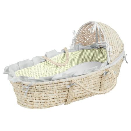 Badger Basket Natural Hooded Moses Basket - Sage Gingham -