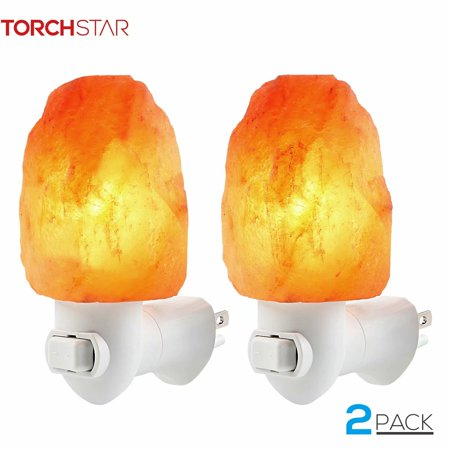 TORCHSTAR 2 Pack Himalayan Salt Night Light, Hand Craved Natural Salt -