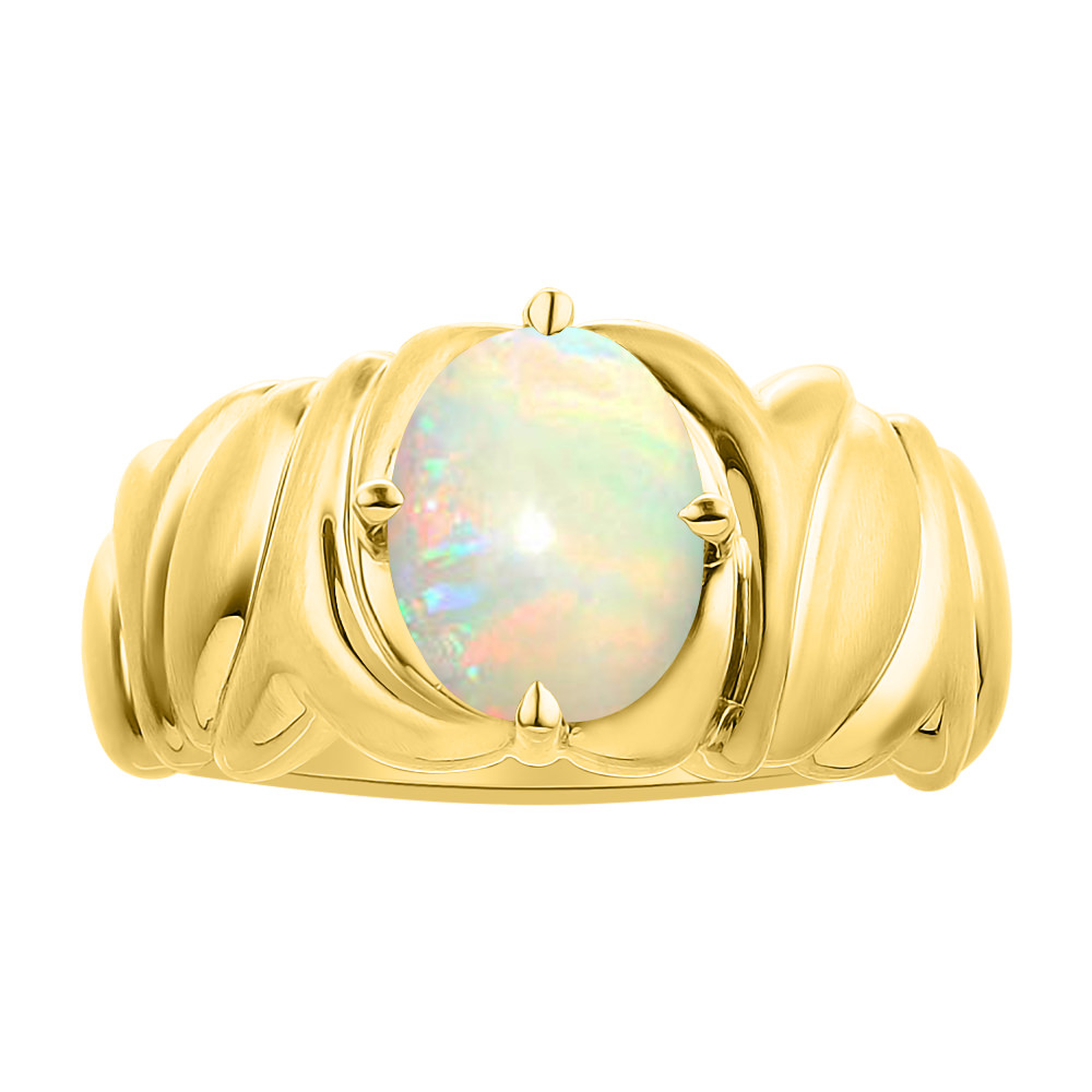 Solitaire Opal Ring Set In 14K Yellow Gold Color Stone Birthstone Ring by