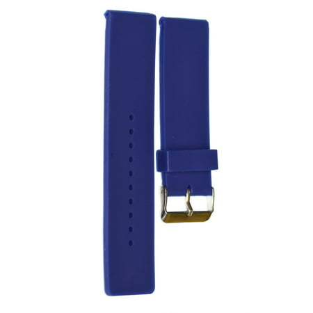 22MM BLUE SMOOTH RUBBER SILICONE WATCH BAND FITS SWISS ARMY