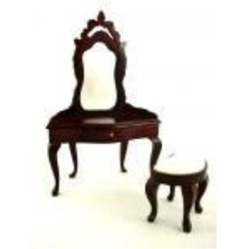 Dollhouse Miniature Bedroom Furniture Mahogany Vanity Dressing Table and Stool