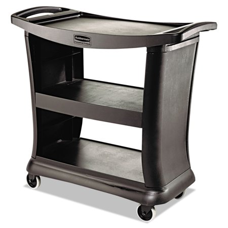 Rubbermaid Commercial Executive Service Cart, Three-Shelf, 20.33w x 38.9d x 38.9 h, Black -RCP9T6800BK Continental Commercial Products Cart