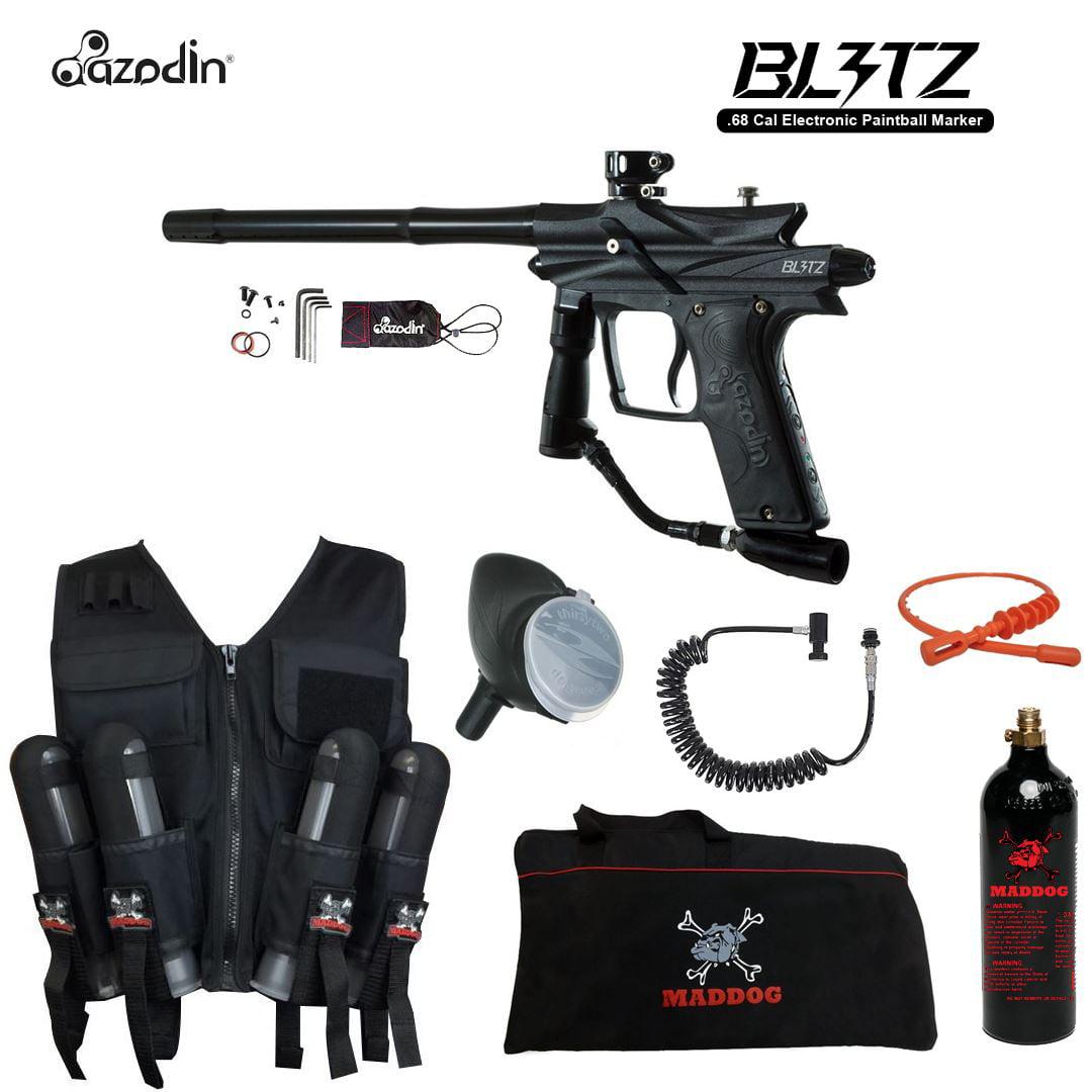 Azodin Blitz 3 Maddog Lieutenant Sport Vest Paintball Gun Package Black by