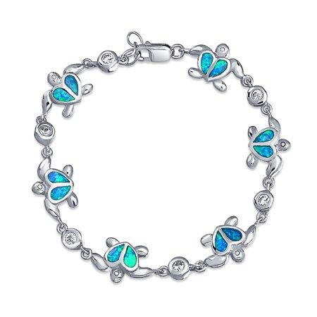 Nautical Heart Turtle Beach Ocean Blue Inlay Created Opal Charm Link Bracelet For Women 925 Sterling Silver Blue Created Opal Inlay Bracelet