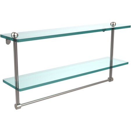 "22"" 2-Tiered Glass Shelf with Integrated Towel Bar (Build to Order)"