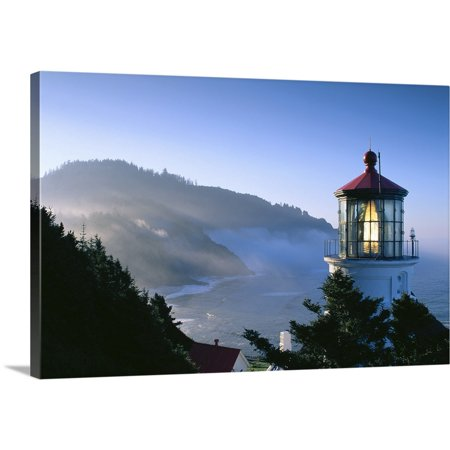 Great American Lighthouses (Great BIG Canvas | Greg Vaughn Premium Thick-Wrap Canvas entitled Oregon, View Of Heceta Head Lighthouse In Early Morning Sun )