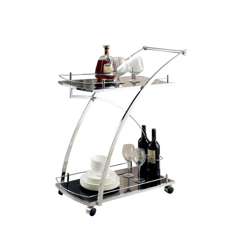 Furniture of America Morrill Modern Bar Cart in Chrome