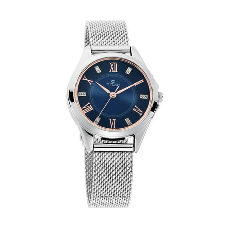 Titan Sparkle Blue Dial Silver Stainless Steel Strap Analog Watch for Women