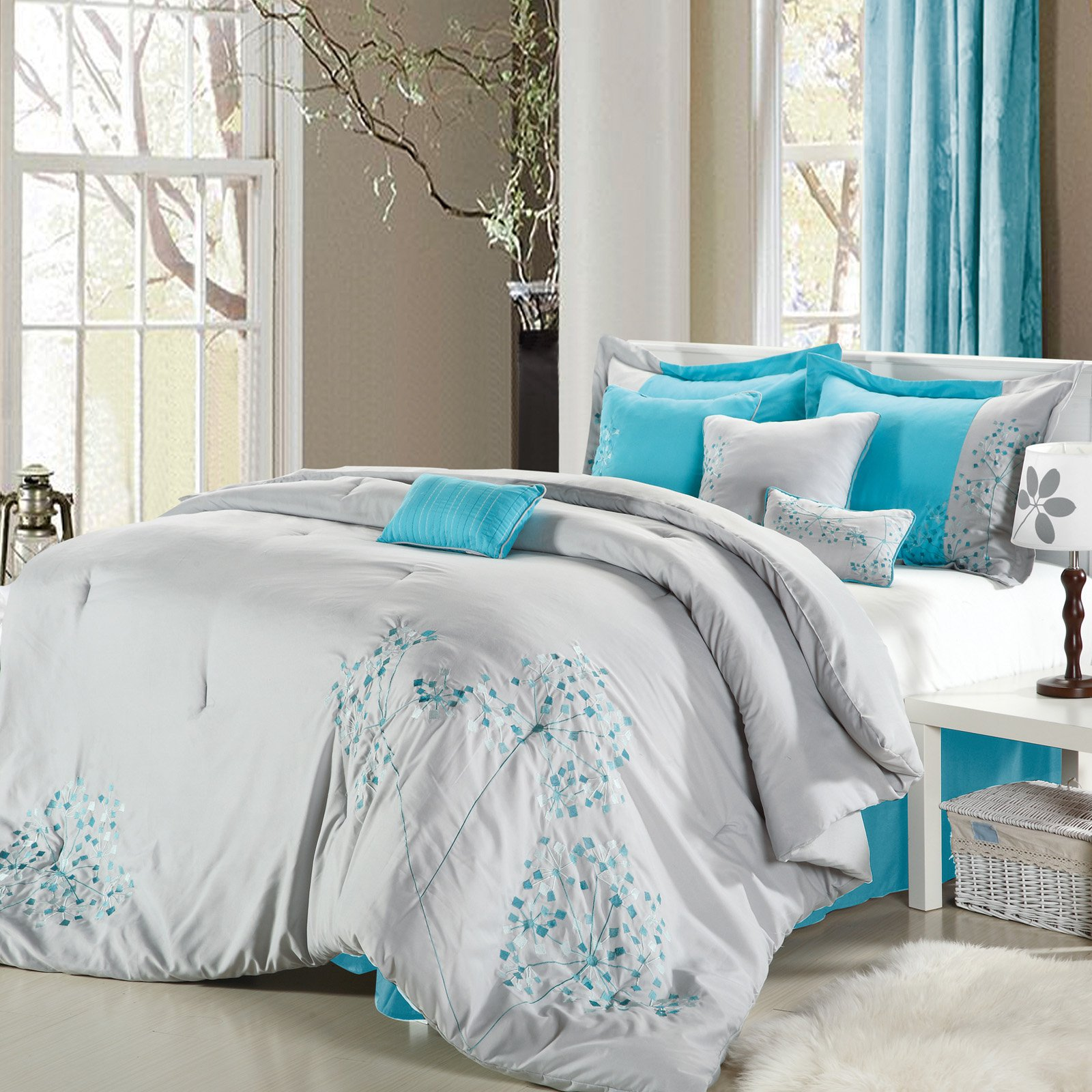 Chic Home Pink Floral 8 Piece Comforter Set