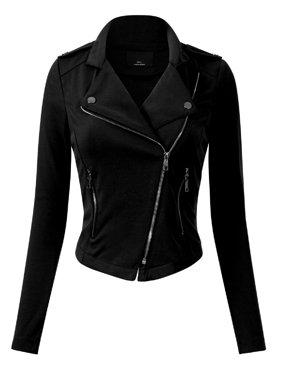 Made by Olivia Women's Slim Fit Long Sleeve Zip-up Moto Jacket