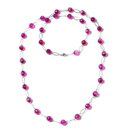"""Stainless Steel Beads Fuschia Agate Enhanced Strand Necklace for Women 44"""""""