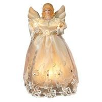 Kurt Adler UL 10-Light 10-Inch Gold and Ivory Angel Treetop