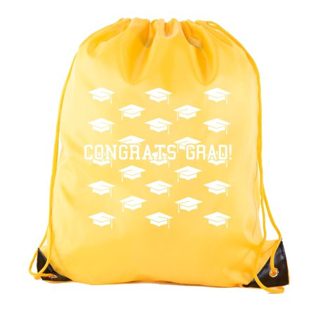 Senior Graduation Drawstring Backpacks Personalized Party Favor Cinch Bags - Grad Hat Grid - Personalized Party Bags