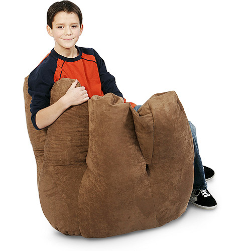 Baseball Glove Microsuede Bean Bag Chair, Camel