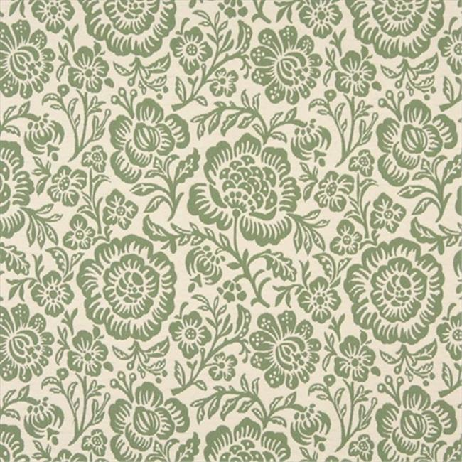 Designer Fabrics F402 54 in. Wide Green And Beige Floral Matelasse Reversible Upholstery Fabric