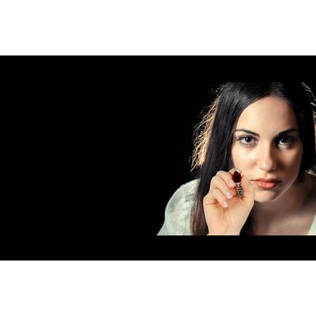 Canvas Print Face Hand Female Portrait Glass Leave Pen Woman Stretched Canvas 10 x (Glasses For Oblong Face Female)