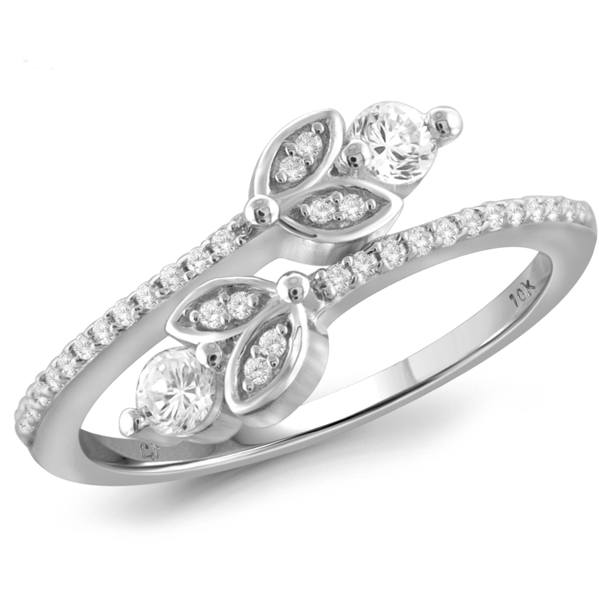 JewelersClub 1/3 Carat T.W. Round-Cut White Diamond 10kt White Gold Two-Stone Ring