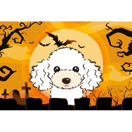 Halloween White Poodle Fabric Placemat BB1815PLMT - Diy Halloween Placemats
