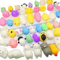 Mochi Squishys Toys, 36 Pcs Cute Kawaii Squishies Animals Stress Relief Toys for Kids Adults Soft Squeeze Reliever Anxiety Toys Cat Panda Seal Polar Bear Fox Rabbit Cat Claw Easter Egg Fillers Gifts