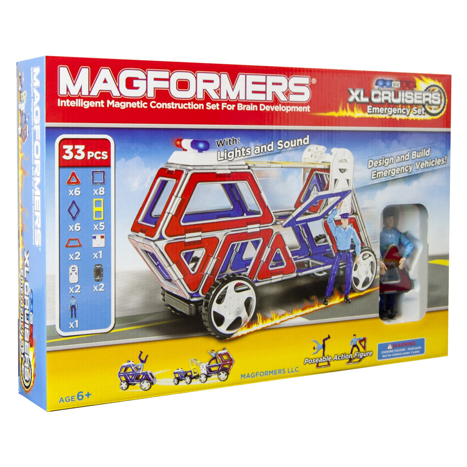 Magformers XL Cruisers Emergency 33 Piece Magnetic Construction Set
