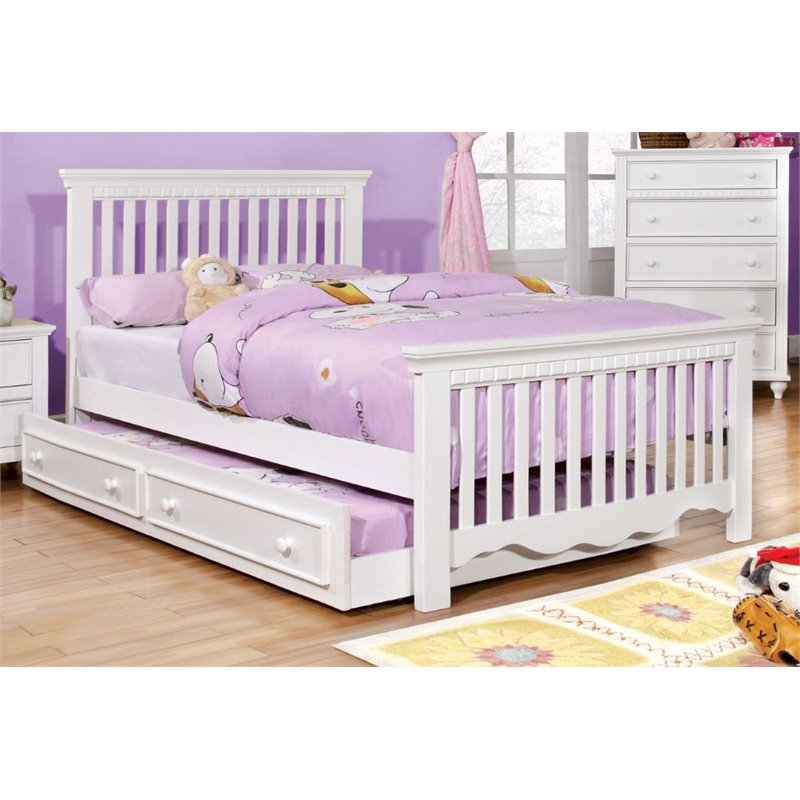Furniture of America Dresden Full Slat Bed in White