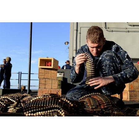 Atlantic Ocean January 14 2013   Gunners Mate Sorts Ammunition During A Live Fire Training Exercise On The Fantail Of The Aircraft Carrier Uss George Hw Bush Poster Print