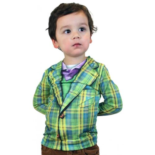 Faux Plaid Suit Costume T-Shirt Child Large