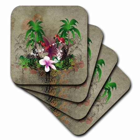- 3dRose Tropical design with flowers and flamingo - Soft Coasters, set of 8