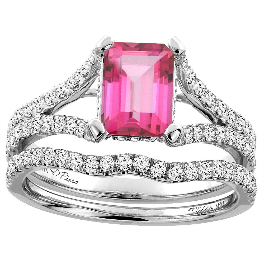 14K White Gold Natural Pink Topaz Engagement Bridal Ring Set Emerald ...