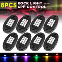 Waterproof 8 Pcs RGB Wireless LED Rock Lights Underbody Glow Trail Rig Neon Lights IP68 Multicolor Neon LED Light Kit for Jeep Off Road Truck Car ATV SUV Vehicle Boat