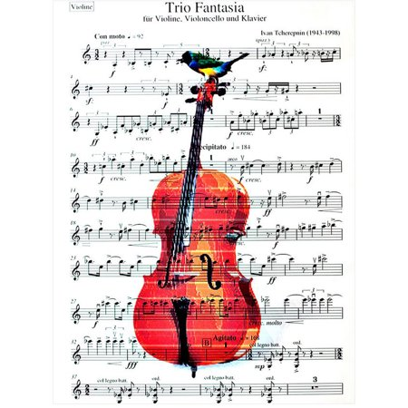 Art N Wordz Cello Birds Original Music Sheet Pop Art Wall or Desk Art Print Poster