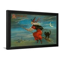 Halloween, Witch and Cat on Broom Framed Print Wall Art