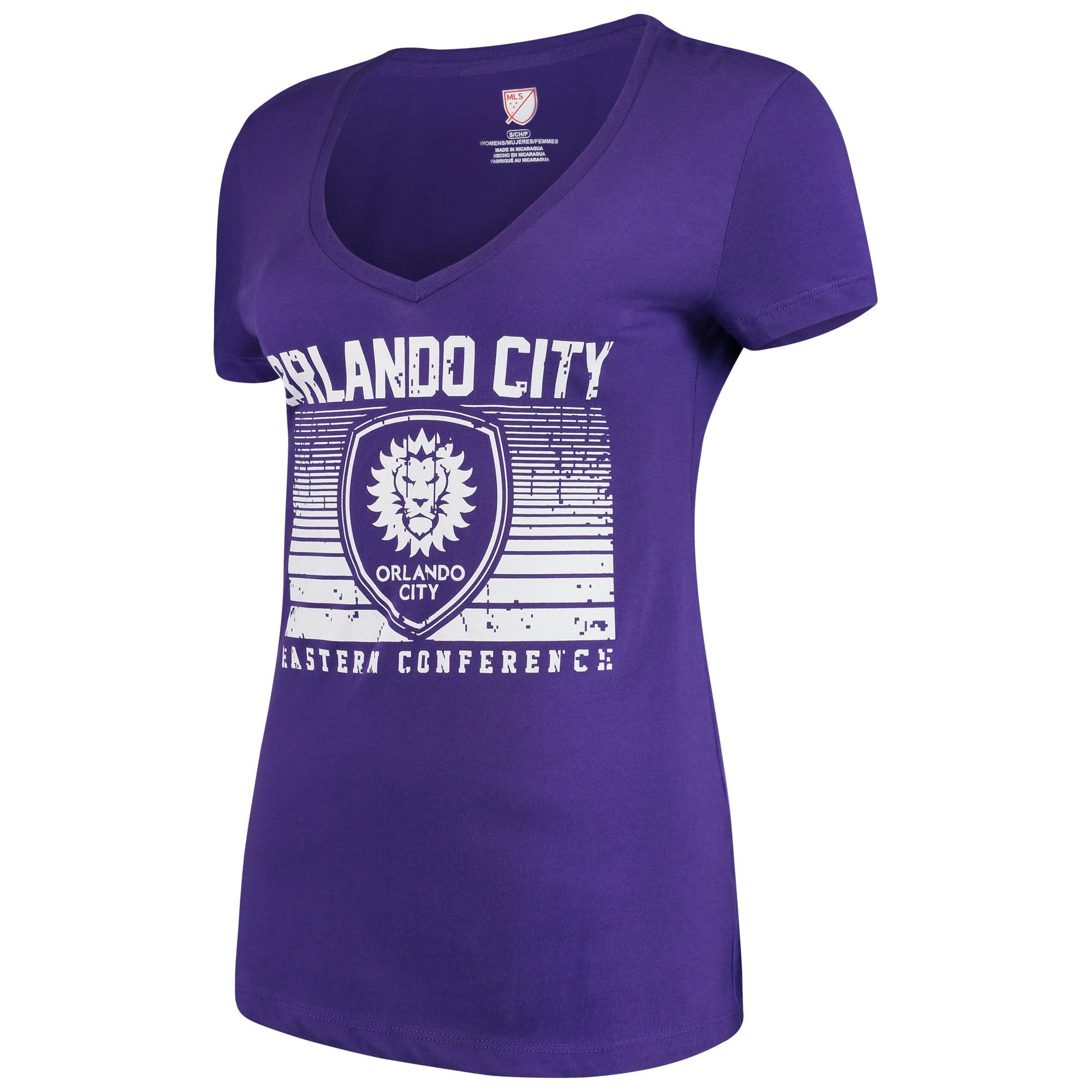 Women's Majestic Purple Orlando City SC Time Crunch V-Neck T-Shirt