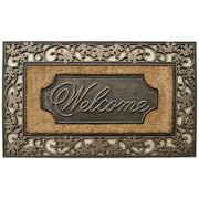 A1HC Welcome Standard Rubber and Coir Mat 23.5 inch x 38 inch with Bronze Finish