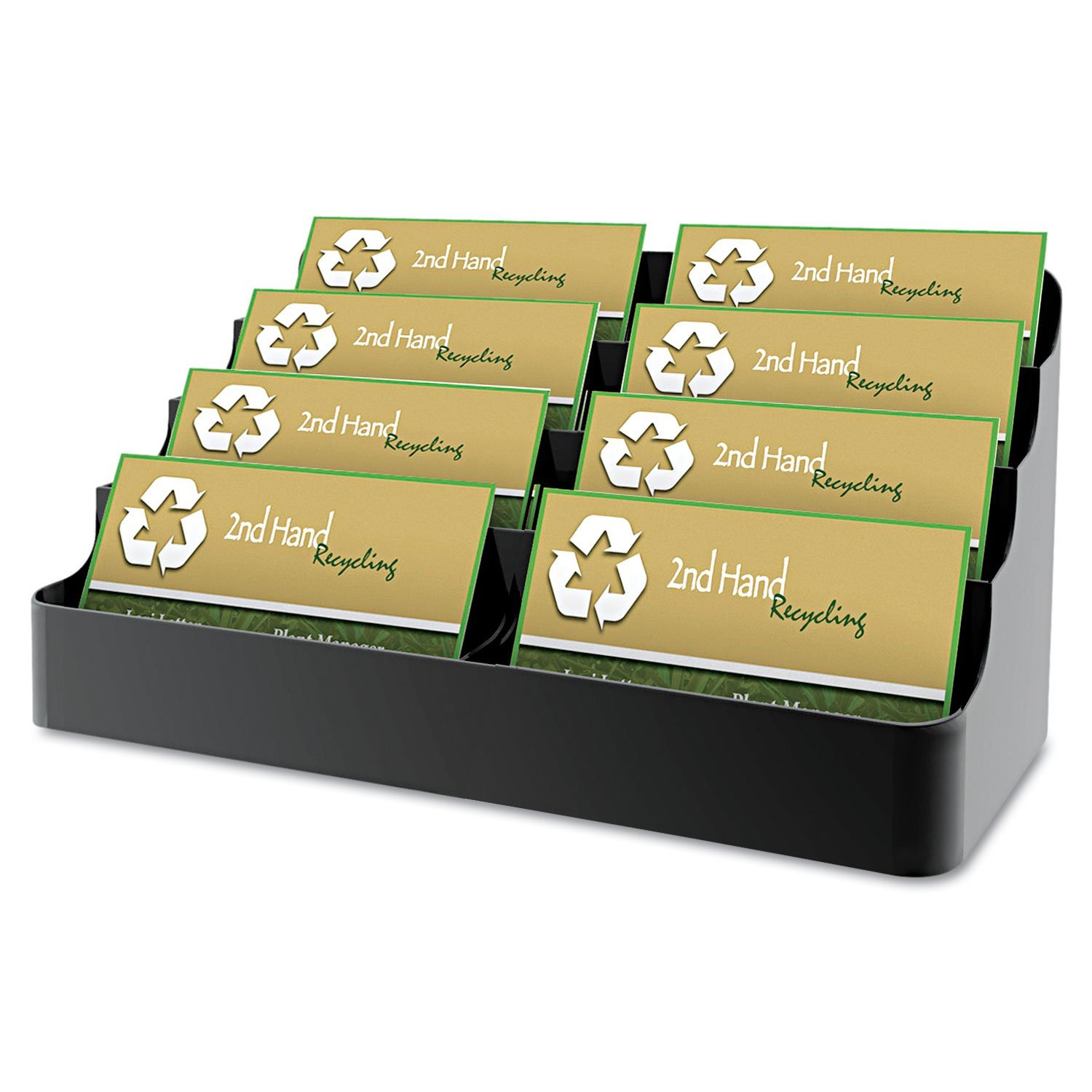 Recycled Business Card Holder, Holds 450 2 x 3 1/2 Cards, Eight-Pocket, Black, Sold as 1 EA. Ideal for doctors' offices, travel agencies, retail outlets and more. By Marketing Holders Ship from US