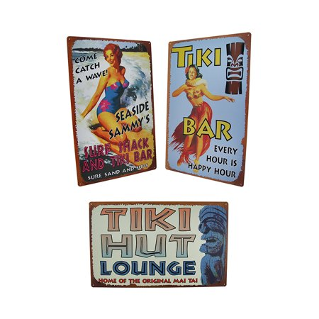 3 Pc. Retro Tiki Hut Hula Bar and Seaside Sammy Tin Bar Signs 10 Tiki Hut