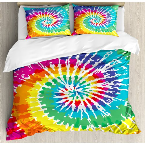Ambesonne Tie Dye Digital Spiral Vortex Vibrant Rainbow Colored Sixties Ikat Psychedelic Pattern Duvet Cover Set