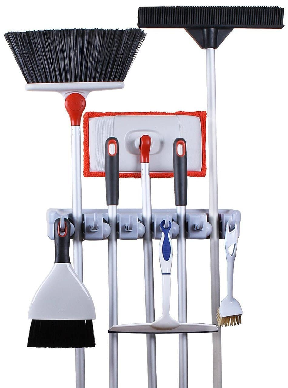 Click here to buy Greenco Mop & Broom Organizer, Wall Closet Mount Rack for Brooms, Mops, Rakes, Garden....