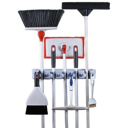 Greenco Mop & Broom Organizer, Wall/Closet Mount Rack for Brooms, Mops, Rakes, Garden Tools & (Garden Broom)