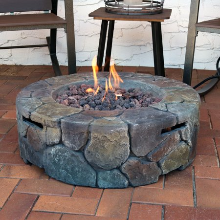 Sunnydaze Cast Stone Propane Gas Fire Pit with Lava Rocks, Outdoor Patio and Backyard Fireplace, 30