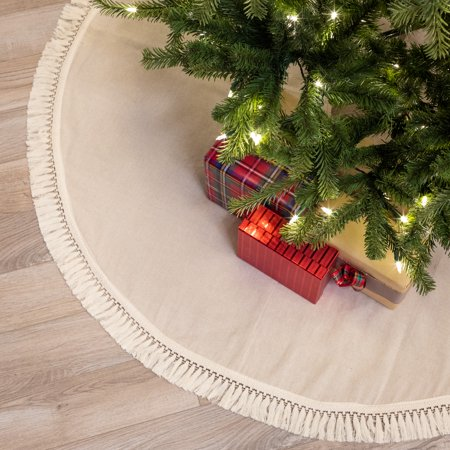 "Belham Living Fringe Cotton Christmas Tree Skirt, 48"" diameter"
