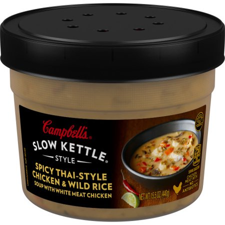 (3 Pack) Campbell'sàSlow Kettle Style Spicy Thai-Style Chicken & Wild Rice Soup with White Chicken Meat, 15.5 oz.àTub Chicken And Wild Rice Casserole