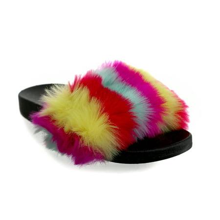 - Olivia Miller  'Fruitland' Multi Color Fur Pool Slide Sandals