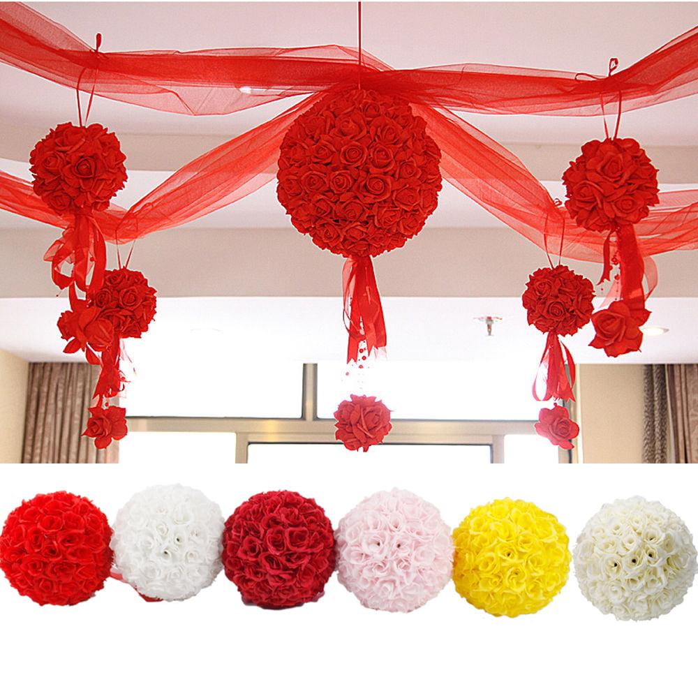 "Ktaxon 10"" Flower Kissing Ball Wedding Silk Rose Party Pomander,Multi-colour"
